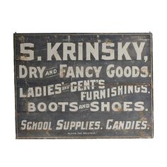 "Folk Art Wood ""Dry and Fancy Goods"" Sign 