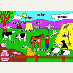 Farm Jigsaw Puzzle - Irish Language A colourful illustration labelled in Irish. Available in or 30 pieces. Hand cut from inch thick wood. Comes in a vinyl zip bag with cloth handle. How To Speak French, Learn French, Gaelic Words, Celtic Pride, Learn Another Language, Irish Language, Irish Roots, Primary Teaching, French Language Learning