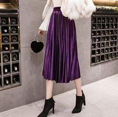 48931ad326 Velvet Skirt Skinny Large Swing Long Pleated Women Skirts 2018 Autumn  Winterliilgal
