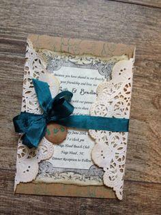 Lace Wedding invitations  rustic wedding by ScrappySeahorse, $5.00