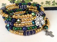 Fighting Irish Wire Wrap Bracelet  Notre Dame by CountryChicCharms, $42.00