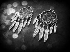 Dream Catcher Earrings - 14 Feathered  . $25.00, via Etsy.