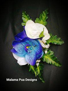 ORCHID HAIR CLIP Maui Blue & White Orchids Swarovski by MalamaPua