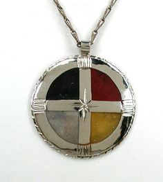 Native American Four Colors Medicine Wheel pendant by Lakota Mitchell Zephier