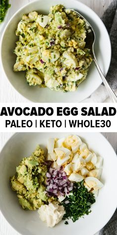 This avocado egg salad takes your classic egg salad recipe and adds healthy avocado for a creamy, nutritious and tasty new avocado egg salad recipe you're sure to love. It's a delicious paleo, keto and whole30 recipe. #avocadoeggsalad #eggsalad #whole30recipes #ketorecipes