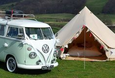 Glamping at its best. 1965 VW split screen Camper Van and a glampit 4m bell tent