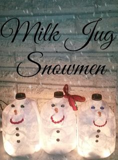 MILK JUG SNOWMEN - A quick and easy eco-friendly craft for Christmas. Great craft for kids, too!