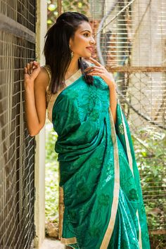 House Of Blouse Green Silk Thread Work Saree