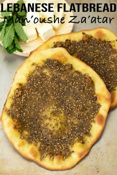A unique and delicious Lebanese flatbread with za'atar or famously known as man'oushe za'atar. They have that rustic look that we love about flatbreads. Armenian Recipes, Lebanese Recipes, Indian Food Recipes, Vegetarian Recipes, Cooking Recipes, Middle Eastern Dishes, Middle Eastern Recipes, Gourmet, Breads