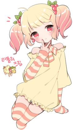 Anime girl in pigtails and a cute dress with stripey socks and sleeves.