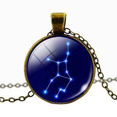 Virgo Blue Cabochon Glass Constellation Necklace