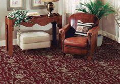 Burgundy carpet.