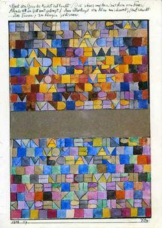 Paul Klee, Una volta emerso dal grigio della notte ..., 1918, acquarello e penna, Berna, Kunstmuseum (Gianluca Lorenzini, Il problema dell'intenzione dell'autore nell'interpretazione dell'opera http://www.bta.it/txt/a0/07/bta00707.html)