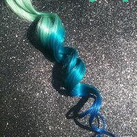 "P E A C O C K  custom color and teal 18"" long human hair extension/ clip-in hair/ dip dye ombre (2) hair extensions"
