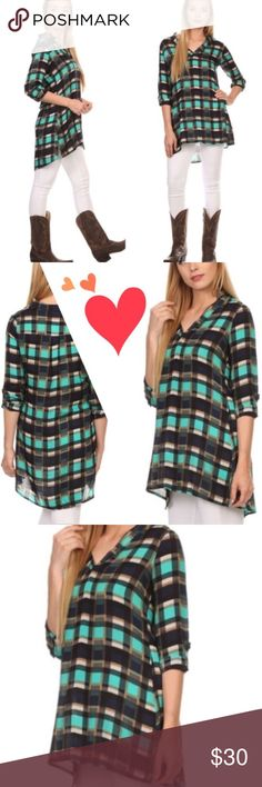 CUTE BUTTON PLAID SHIRT Button down plaid shirt in teal. Very comfy, slight high low design, tunic length. 100% rayon. Measurements upon request. PINK IN SEPARATE LISTING. tla2 Tops Button Down Shirts
