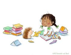 Periwinkle and Hazel Love a Good Book - Girl Reading to Hedgehog - Art Print Illinois, Hedgehog Art, Girl Reading, Book Girl, Periwinkle, Book Lovers, Fine Art Prints, Painting Prints, Illustrators