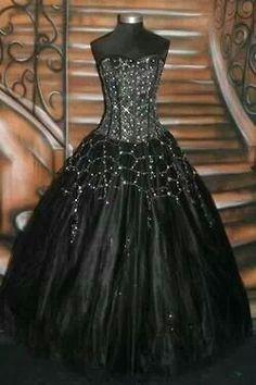 Corset Black Wedding Dress