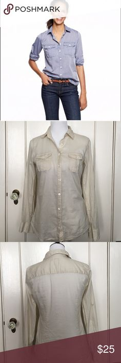 """J. Crew Tissue Roll Up Camp Shirt Cream 100% cotton measures 27"""" from shoulder to hem. Roll up sleeves. Great layering piece. Cream color J. Crew Tops"""