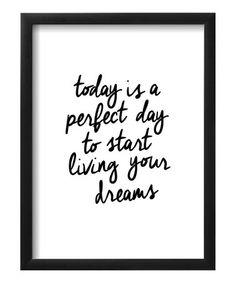 Look what I found on #zulily! Brett Wilson 'Start Living Your Dreams' Framed Print #zulilyfinds