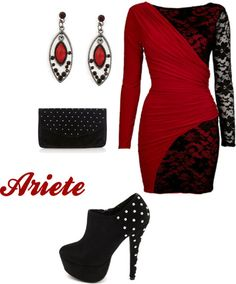 Aries Style by alessia-garaventa featuring studded handbags ❤ liked on PolyvoreRed dress, $56 / Charlotte Russe platform boots / Oasis studded handbag, $52 / 1928 jewelry