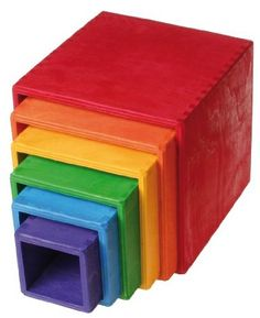 Grimm's Toys Large Rainbow Stacking Boxes: Amazon.co.uk: Toys & Games