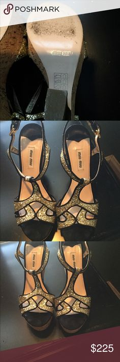 """Miu Miu glitter t strap platform sandal MIU MIU - Black suede leather/ metallic gold glittering platform wedge sandals, open toe, ankle strap with gold metal buckle closure at outside & keeper a three holes adjustments, gold metal hardware set at back, cork 2.25"""" platform & 5.5"""" cork wedge with gold metal heels, black suede leather/ pale pink leather lining & beige leather outsole.  Worn only once. Only shows wear on bottom. Miu Miu Shoes Platforms"""