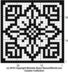 "Filet Crochet Coaster ""Gwein"" This is the first of a trio of coasters, or squares they could be used for something else. The first coast. Filet Crochet, Crochet Cross, Crochet Chart, Crochet Bedspread Pattern, Tapestry Crochet, Intarsia Knitting, Knitting Charts, Mosaic Patterns, Embroidery Patterns"