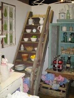 Vintage stairs vignette.  Dreamy Whites booth.  Remnants of the Past.  June 2012.