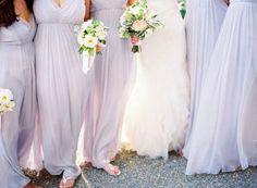 Pastel lavender bridesmaid dresses- long yet flowy so great for an outdoor wedding in spring!