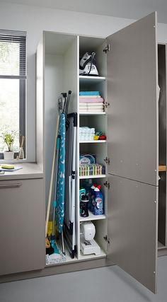 Utility Rooms by Schüller - Schuller by Artisan Interiors Laundry Room Layouts, Laundry Room Remodel, Laundry Room Organization, Laundry Room Storage, Laundry In Bathroom, Modern Laundry Rooms, Cleaning Cupboard Organisation, Laundry In Closet, Small Pantry Closet
