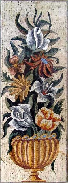 Mosaic Natural - potential whole sales information page. Mosaic Drawing, Mosaic Tile Art, Mosaic Vase, Mosaic Artwork, Pebble Mosaic, Free Mosaic Patterns, Flower Vase Design, Mosaic Flowers, Stone Art