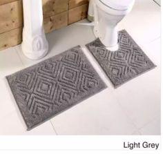 Light Grey Cotton Chevron Tufted Bathroom Rug Decor Non Skid Backing (Set of 2) #BathRug #BathMat #ChevronMat #SoftMat #DoorMat #Mat #Rug #SkidResistant #NonSlip #Home #Kitchen #Bathroom #Bath #MatSet