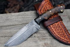 HHH Feather damascus custom knife