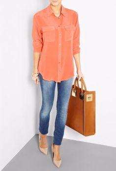 NWT-EQUIPMENT-Slim-Signature-Silk-Shirt-Blouses-BRIGHT-ORANGE-M-208