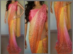 Elegant Sarees with designer blouses which includes Georgette, Chiffons and soft net sarees