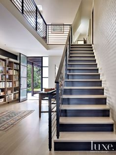 Contemporary Neutral Staircase with Word Wall