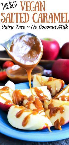 Vegan Caramel, Salted Caramel Sauce, Caramel Recipes, Dairy Free Caramel Sauce Recipe, Salted Caramels, Cheesecake Sans Lactose, Dairy Free Cheesecake, Vegan Dessert Recipes, Vegan Sweets