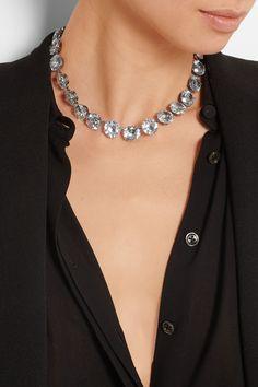 Bottega Veneta | Oxidized sterling silver cubic zirconia necklace | NET-A-PORTER.COM