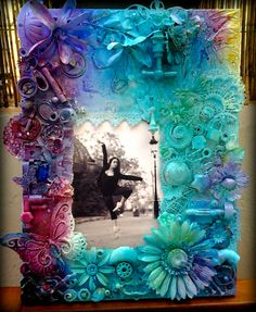 Mix media scrapbooking. Ada's winter in blue