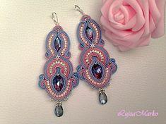Soutache blue&pink long elegant earrings