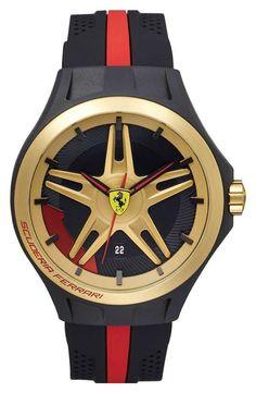 Love the Scuderia Ferrari 'Lap Time' Silicone Strap Watch, 45mm on Wantering.