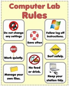bulletin boards for computer lab | Computer Rules Poster for Classroom and Computer Lab