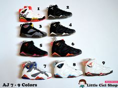 Items similar to 1 pc Air Jordan 7 Sneaker Keychain Cabochon - 8 Colors  available - Cute Mini Shoe Flatback Bead Craft Art DIY Cell Phone Case  Cabochon Deco ... 2a048f692