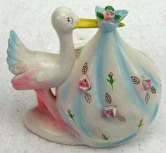 Vintage Mid Century Stork Figurine Porcelain Baby Planter Rubens Girl or boy Applied Flowers Shower Gift Nursery Decor ATCTTEAM by RetroCentsStudio on Etsy https://www.etsy.com/listing/219759458/vintage-mid-century-stork-figurine
