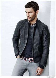 combination = leather jacket + sweatshirt + casual shirt in checks