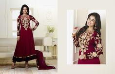 Enigmatic Bick Red Salwar Kameez   StylishKart.com