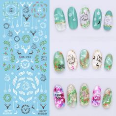 Make Up Products Water Transfer Nails Art Sticker White Deer Peach Green Leaf Rattan Nail Wraps Foil Sticker manicure stickers