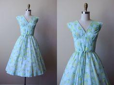 50s Dress - Vintage 1950s Dress - Delphite Blue Apple Green Chartreuse Floral…