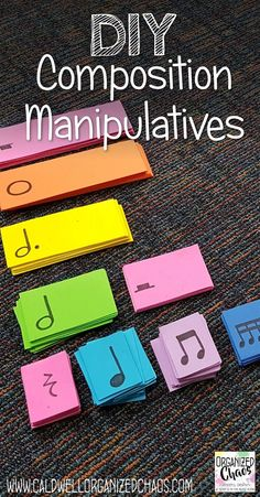 DIY Composition Manipulatives. Organized Chaos. easy rhythm cards made from foam sheets. great way to get students composing because each card matches the length of the note or rest and each note is a different color.
