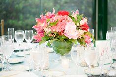 #GlenFoerdMansion #SummerWedding #TurquoiseandPink #Robertson'sFlowers #LorraineDaleyWeddingPhotography #reception #guesttable #centerpiece